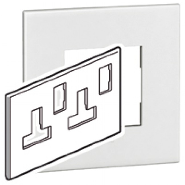 plate arteor bs square for switched sockets 2 gang white plate arteor bs square for switched sockets 2 gang white