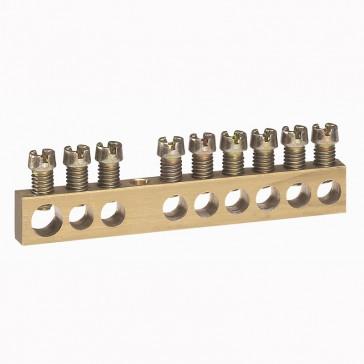 Screw terminal block - 1 x 6 to 25Ø - 8 x 1.5 to 16Ø - L. 73 mm