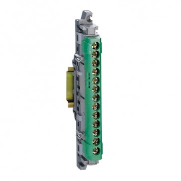 IP2X terminal block - earth (green) - 1 x 6 to 25² - 12 x 1.5 to 16² -L. 113 mm