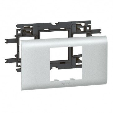 Mosaic / Arteor support-for aluminium adaptable DLP cover depth 65 mm - 2 modules