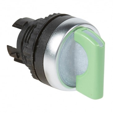 Osmoz illuminated standard handle selector switch - 2 stay-put positions 45° - green