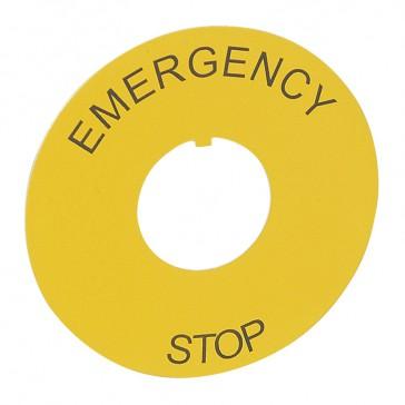 Osmoz legend plate - for mushroom head - round Ø60 - yellow -''EMERGENCY STOP''