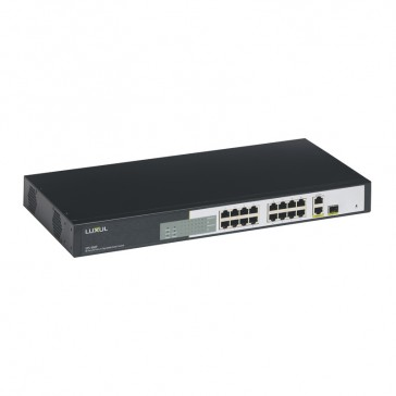 PoE Ethernet 19 inch switch with 18 RJ 45 ports (16 PoE+ ports) 10/100 Mbps non manageable