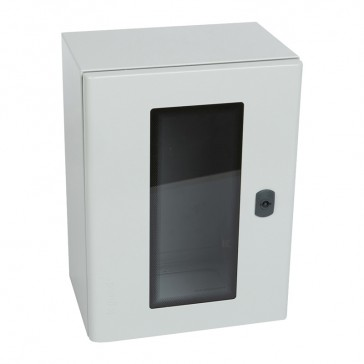 Atlantic metal cabinet - vertical version with glass door and external dimensions 400x300x200 mm