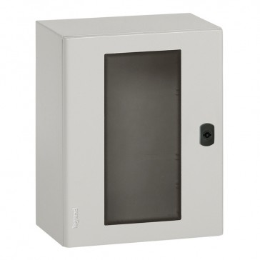 Atlantic metal cabinet - vertical version with glass door and external dimensions 500x400x200 mm