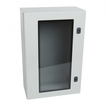 Atlantic metal cabinet - vertical version with glass door and external dimensions 600x400x200 mm