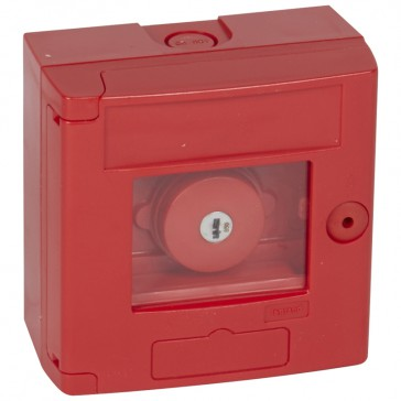 Break glass emergency box-mushroom head-surface mounting-IP44-red box without LED