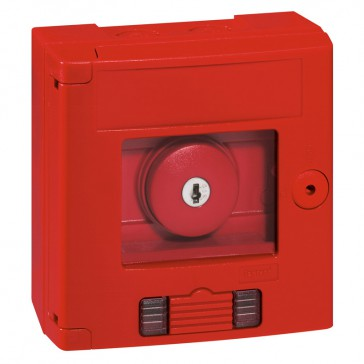 Break glass emergency box-mushroom head-surface mounting-IP44-red box with LED