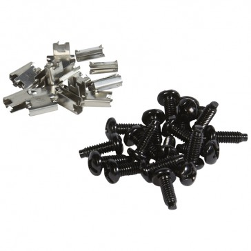 Set of special screws and earthing claws for 19'' racks