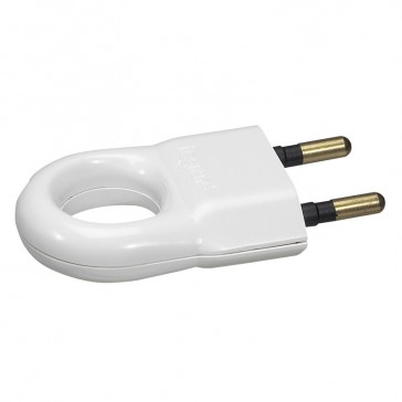 2P plug - 6 A - plastic with extraction ring - white - gencod labelling