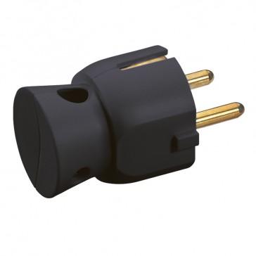 2P+E plug - 16 A - German standard - plastic side outlet - black - gencod labelling