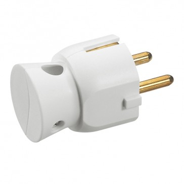 2P+E plug - 16 A - German standard - plastic side outlet - white - gencod labelling