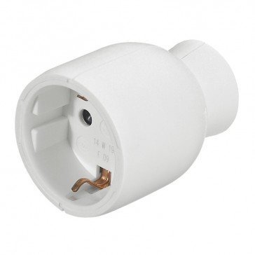 2P+E extension - 16 A - German standard - plastic straight outlet - white - gencod