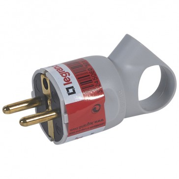 2P+E plug - 16 A with ring - German standard - plastic - grey - gencod labelling