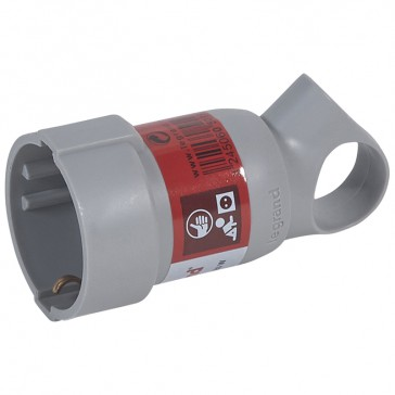 2P+E extension - 16 A with ring - German standard - plastic - grey - gencod labelling