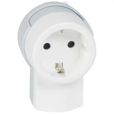 2P+E extension - 16 A - German standard - side outlet - white/grey - sleeve