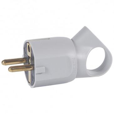 2P+E plug - 16 A with ring - German standard - plastic - grey - bulk