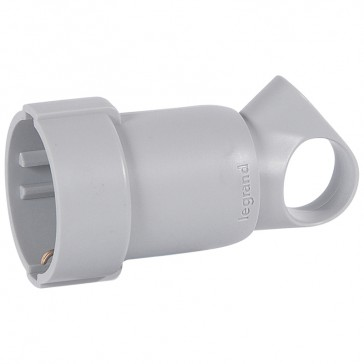 2P+E extension - 16 A with ring - German standard - plastic - grey - bulk