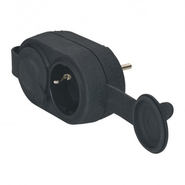 2P+E multi-socket plug -German standard -2 front outlets -IK08 -black -gencod label