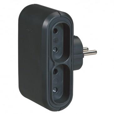2P multi-socket plug - 4 side outlet - black - German/Fr standard - cardboard