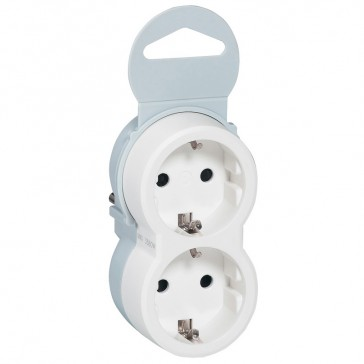 2P+E multi-socket plug - German standard - 2 front outlets - white/grey - sleeve