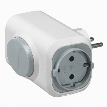 2P+E multi-socket plug - German standard - 2 side outlets - white/grey - cardboard