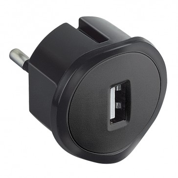 USB charging socket - German/French/Italian standards - 5 V - 1.5 A max. - black