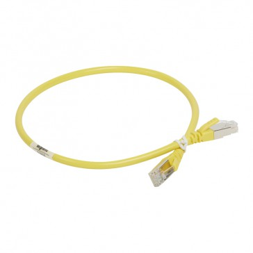 Patch cord category 6 A - S/FTP shielded - PVC - length 0.5 m - yellow