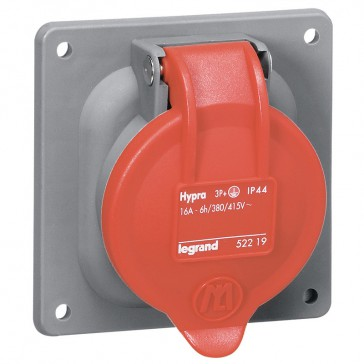 Panel mounting socket inclined outlet Hypra-IP44 -380/415 V -63 A -3P+N+E -plastic
