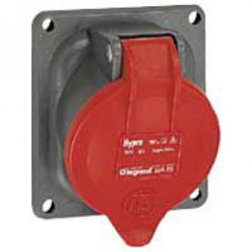 Panel mounting socket-inclined outlet Hypra-IP44 -380/415 V -16 A -3P+N+E -plastic
