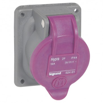 Panel mounting socket Hypra - IP44 - 20/25 V~ - 16 A - 2P - plastic