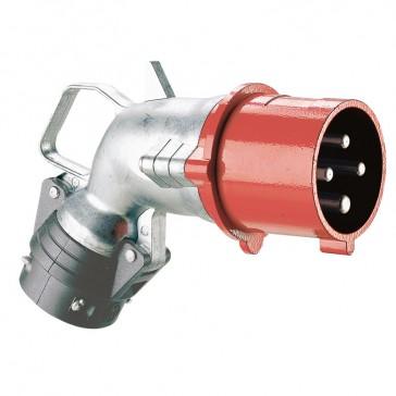 Angled plug Hypra - IP44 - 380/415 V~ - 32 A - 3P+E - metal