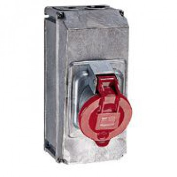 Surface mounting socket Hypra - IP44 - 380/415 V~ - 63 A - 3P+N+E - metal
