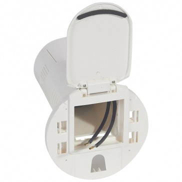 Desk grommet to be equipped - for 1 x 2P+E socket + USB phone charger - white