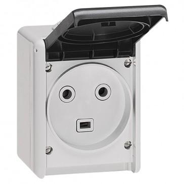 Socket outlet Plexo IP55 - 32 A - 2P+E 230 V~ - surface mounting - grey