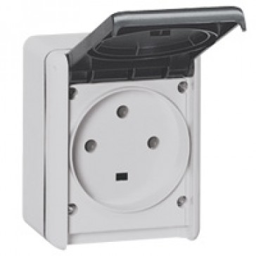 Socket outlet Plexo IP55 - 32 A - 3P+E 230 V~ - surface mounting - grey