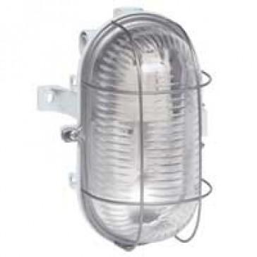 Bulkhead light - IP44 - IK06 - oval 60 W- E27 - metal grid screw fixing -grey