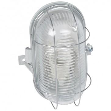 Bulkhead light - IP44 - IK06 - oval 100 W- E27 -metal grid screw fixing -grey