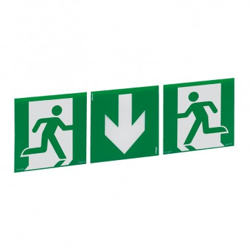 Label - for emergency lighting luminaires - exit door below - 327 x 109 mm