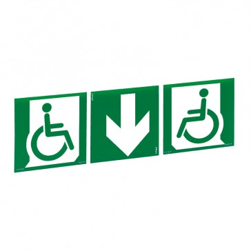 Label - for emergency lighting luminaires-exit door for handicapped person below