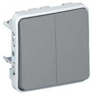Switch Plexo IP55 - 2 gang 2-way - 10 AX 250 V~ - modular - grey