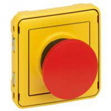 Emergency stop button Plexo IP55 - 1P - 1 N/C contact- modular - grey/yellow
