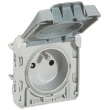 Socket outlet Plexo IP55-Fr standard-2P+E automatic opening of flap-modular-grey