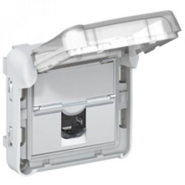 RJ 45 socket Plexo - category 6 A FTP - IP55 - IK07 - grey/white