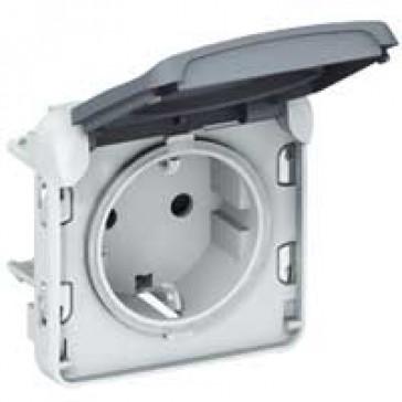 Socket outlet Plexo IP55 - German standard - 2P+E screw terminals- modular - grey