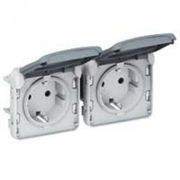 Socket outlet prewired Plexo IP55-German standard-2x2P+E horizontal-modular-grey