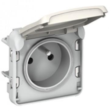 Socket outlet Plexo IP55-Fr standard-2P+E+shutters automatic terminals-modular-white