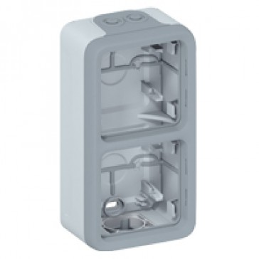 Surface mounting box Plexo IP55 - 2 gang vertical - with membrane glands - grey