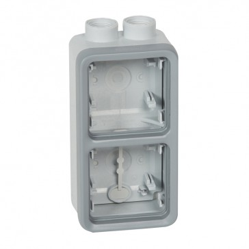 Surface mounting box Plexo IP55 - 2 gang vertical - for cable glands - grey