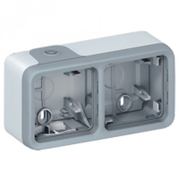 Surface mounting box Plexo IP55 - 2 gang horizontal - with membrane glands - grey
